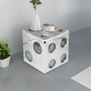 vidaXL Taburetė/staliukas, kauliuko formos, aliuminis, sidabro spalvos[2/6]