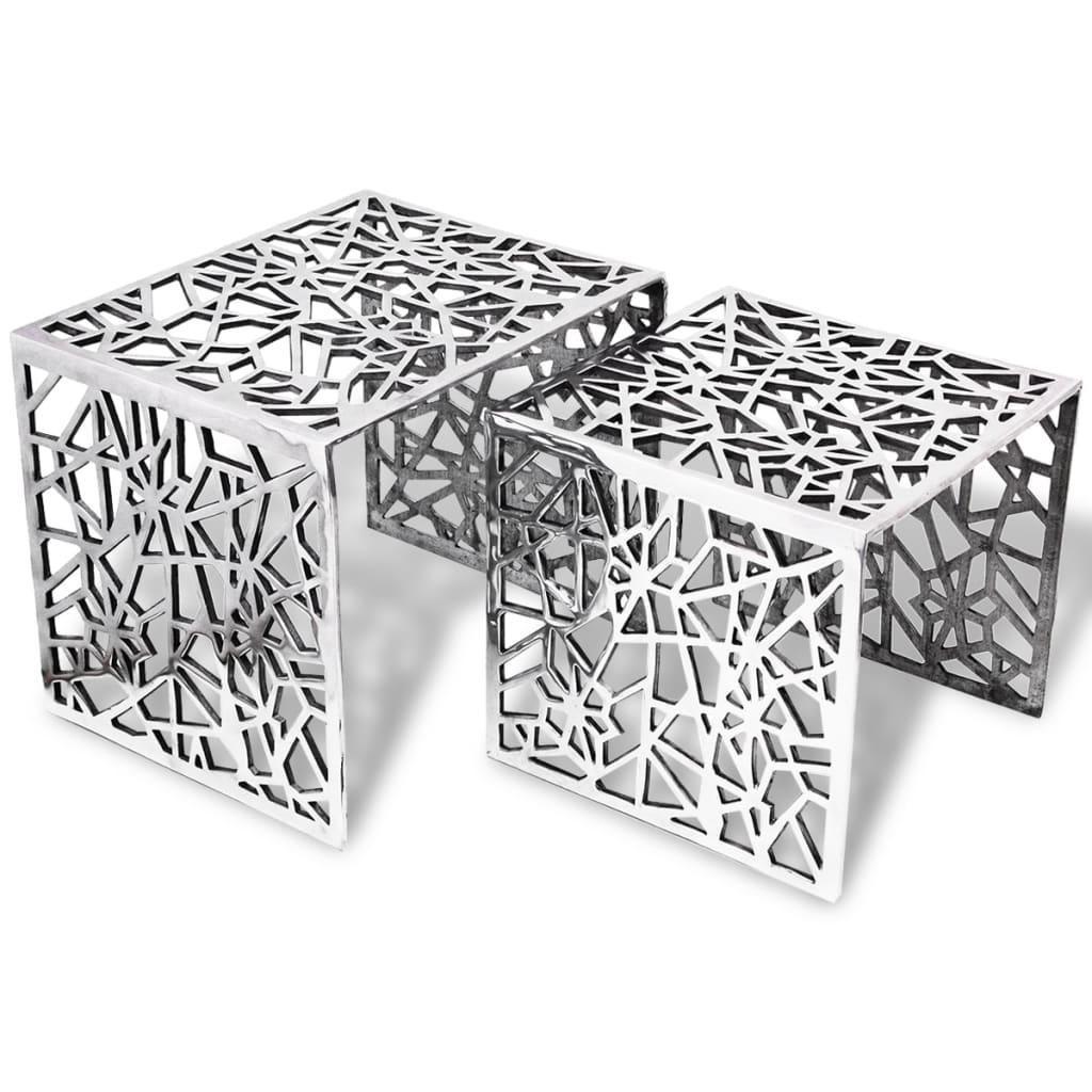 vidaXL To-delers Sidebord Kvadratisk Aluminium Sølv
