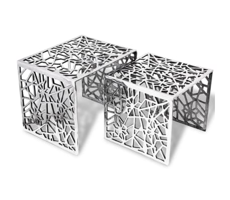 vidaXL Two Piece Side Tables Square Aluminum Silver[1/4]