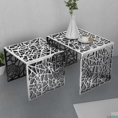 vidaXL Two Piece Side Tables Square Aluminum Silver[2/4]