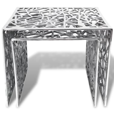 vidaXL Two Piece Side Tables Square Aluminum Silver[3/4]