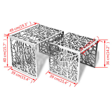 vidaXL Two Piece Side Tables Square Aluminum Silver[4/4]