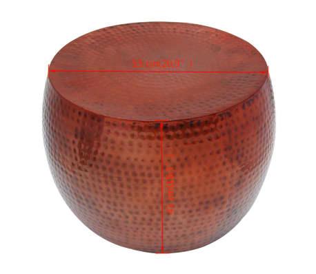 vidaXL Couchtisch Braun Rund Aluminium mit Kupferfinish[5/5]
