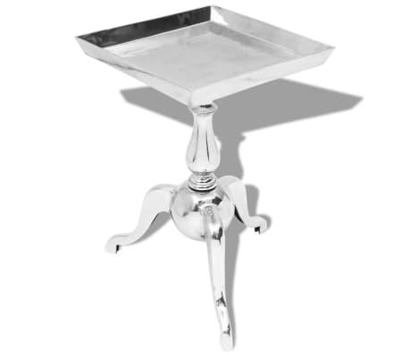 vidaXL galdiņš, četrstūra, sudraba krāsā, alumīnijs
