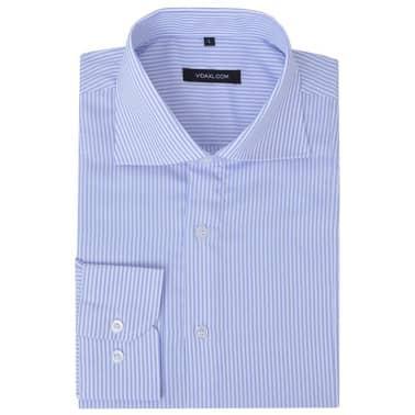 vidaXL Herren Business-Hemd weiß und hellblau gestreift Gr. S[1/4]