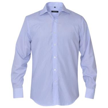 vidaXL Herren Business-Hemd weiß und hellblau gestreift Gr. S[2/4]