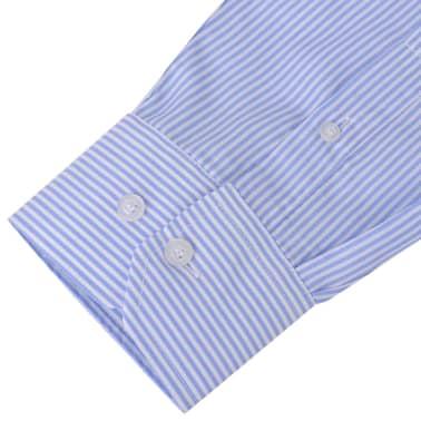 vidaXL Herren Business-Hemd weiß und hellblau gestreift Gr. S[3/4]
