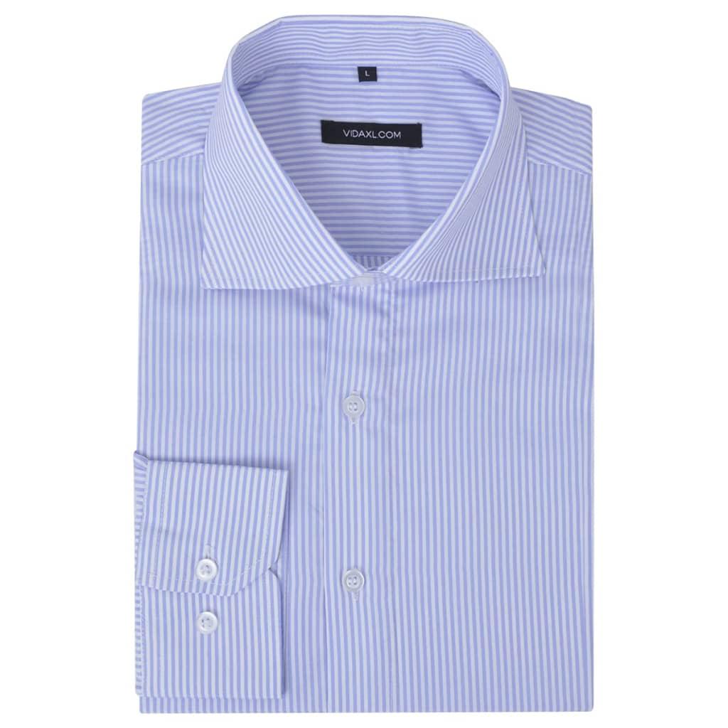 Pánská business košile bílá/světle modrá proužek vel. M