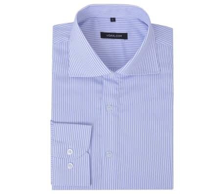 vidaXL Men's Business Shirt White and Light Blue Stripe Size M
