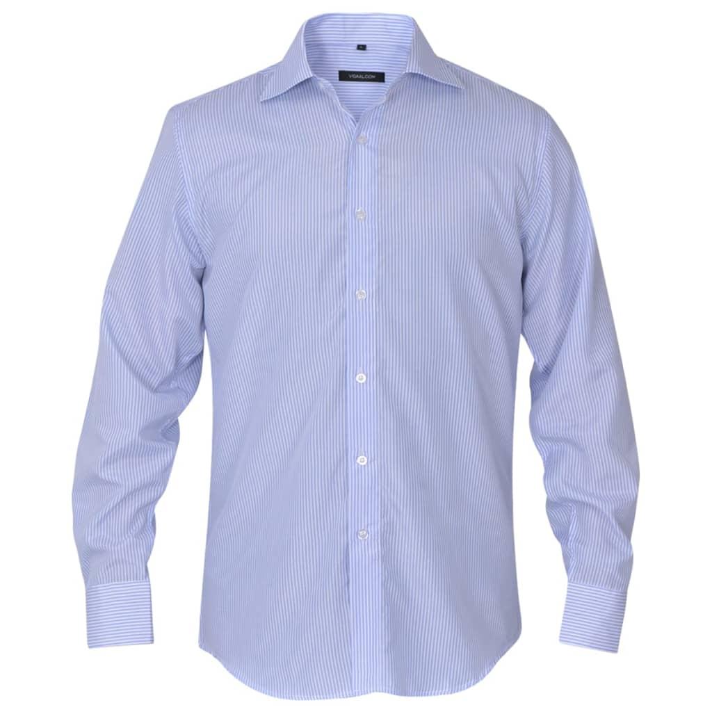 vidaXL Pánská business košile bílá/světle modrá proužek vel. M