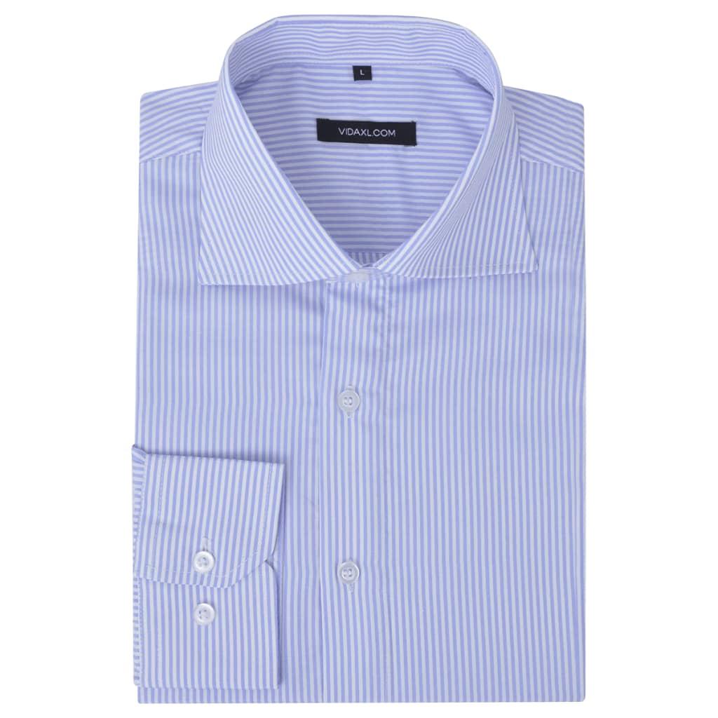 999131596 Herren Business-Hemd weiß und hellblau gestreift Gr. L