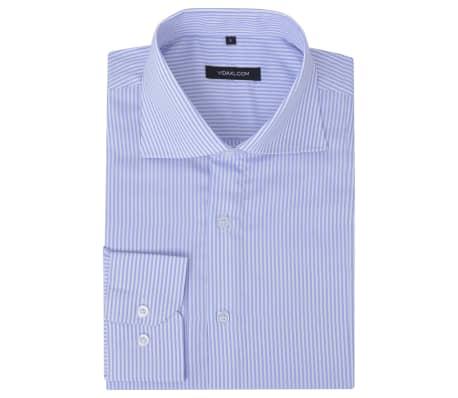 vidaXL Vyriški kostiumo marškiniai, dydis L, baltos/žydros juostelės