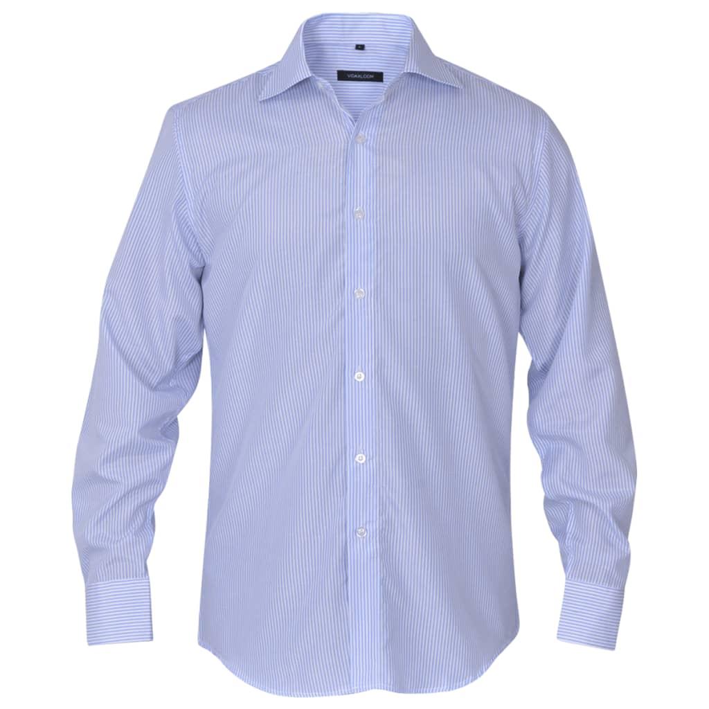 vidaXL Pánská business košile bílá/světle modrá proužek vel. L