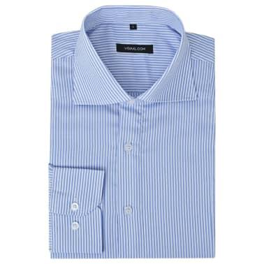 vidaXL Vyriški kostiumo marškiniai, dydis S, baltos/mėlynos juostelės[1/4]