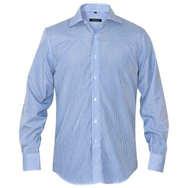 vidaXL Vyriški kostiumo marškiniai, dydis S, baltos/mėlynos juostelės[2/4]