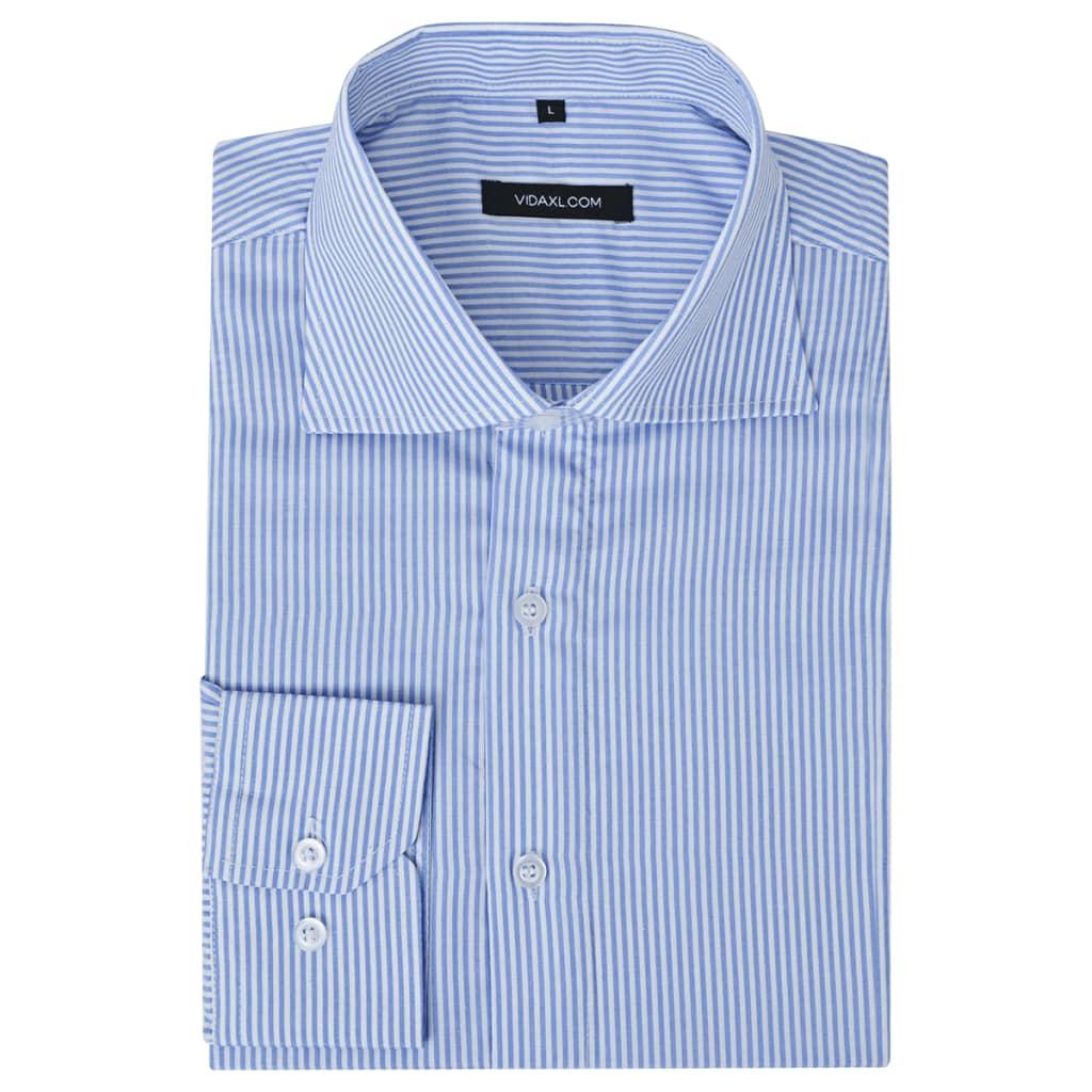 Pánská business košile bílá/modrá proužek vel. L