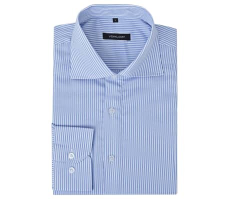 vidaXL Camicia Uomo Business Bianca e Blu a Righe Taglia L[1/4]