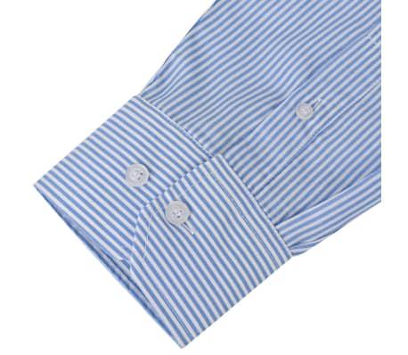 vidaXL Camicia Uomo Business Bianca e Blu a Righe Taglia L[3/4]