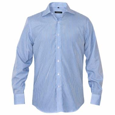 vidaXL Camicia Uomo Business Bianca e Blu a Righe Taglia L[2/4]