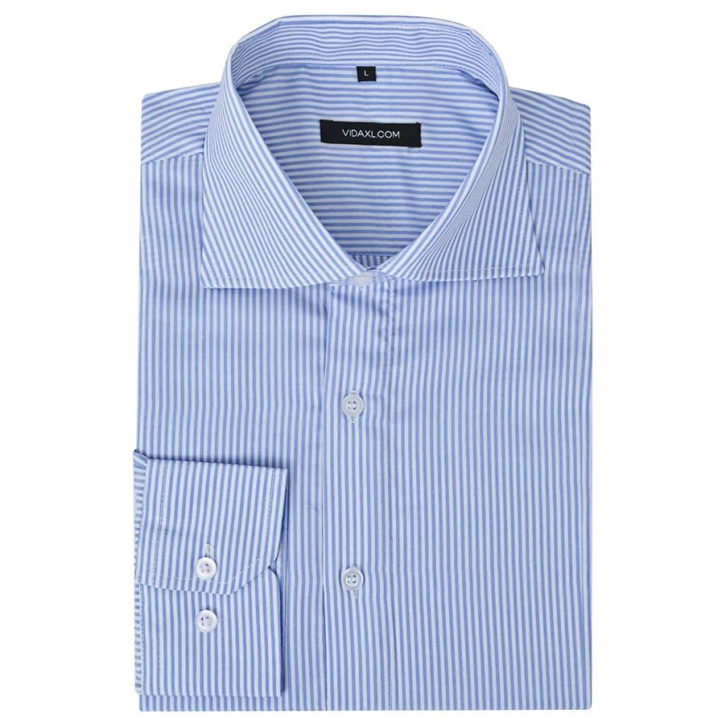 999131603 Herren Business-Hemd weiß und blau gestreift Gr. XXL