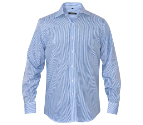 vidaXL Men's Business Shirt White and Blue Stripe Size XXL[2/4]