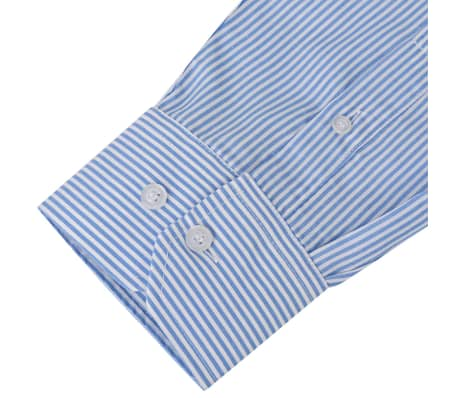 vidaXL Men's Business Shirt White and Blue Stripe Size XXL[3/4]