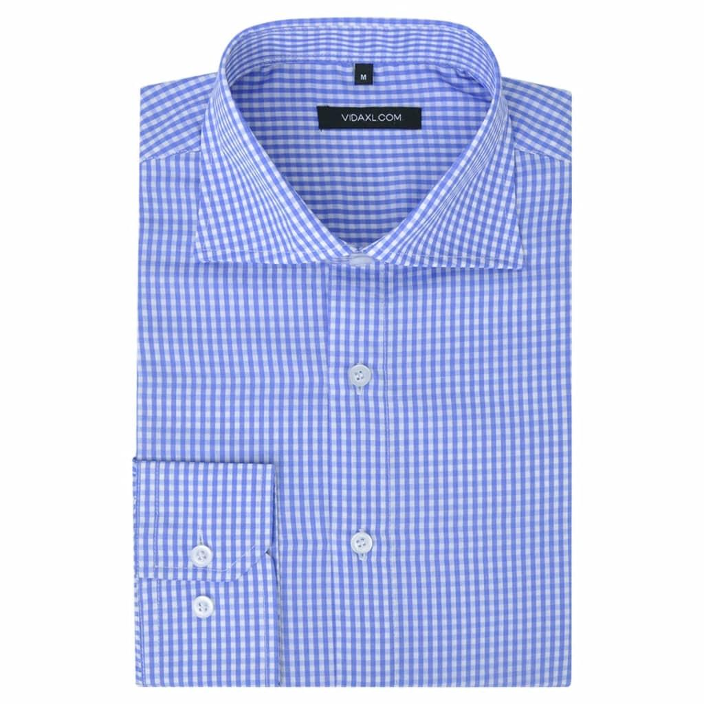 vidaXL Kostymskjorta för män storlek S ljusblå- och vitrutig