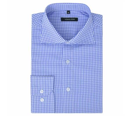 vidaXL Camisa de vestir de hombre a cuadros blanca y azul claro S[1/4]