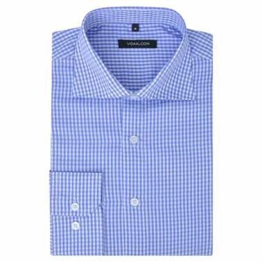 vidaXL Vyriški kostiumo marškiniai, dydis S, balti/žydri langeliai[1/4]