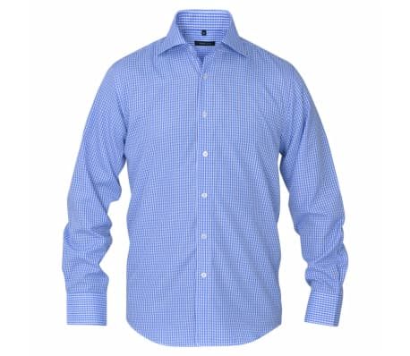 vidaXL Vyriški kostiumo marškiniai, dydis S, balti/žydri langeliai[2/4]