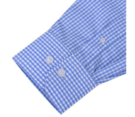 vidaXL Vyriški kostiumo marškiniai, dydis S, balti/žydri langeliai[3/4]