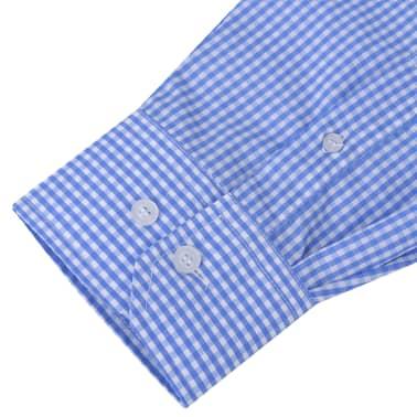 vidaXL Zakelijk overhemd heren wit en lichtblauw geblokt maat L[3/4]