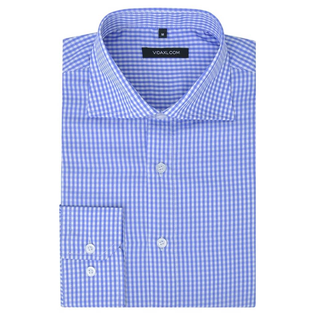 vidaXL Pánská business košile bílá/světle modrá kostka vel. XXL