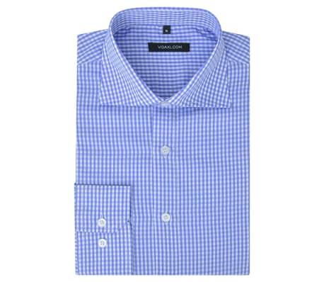 vidaXL Vyriški kostiumo marškiniai, dydis XXL, balti/žydri langeliai[1/4]