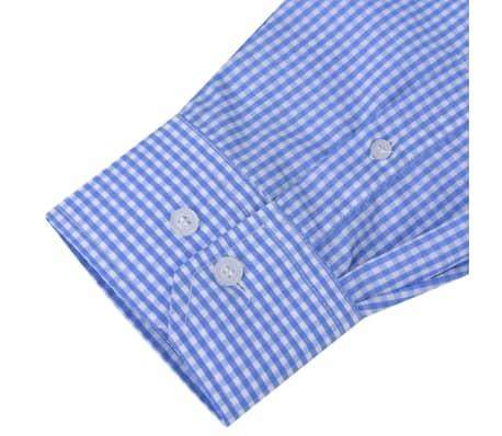 vidaXL Vyriški kostiumo marškiniai, dydis XXL, balti/žydri langeliai[3/4]