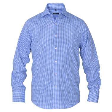 vidaXL Vyriški kostiumo marškiniai, dydis XXL, balti/žydri langeliai[2/4]