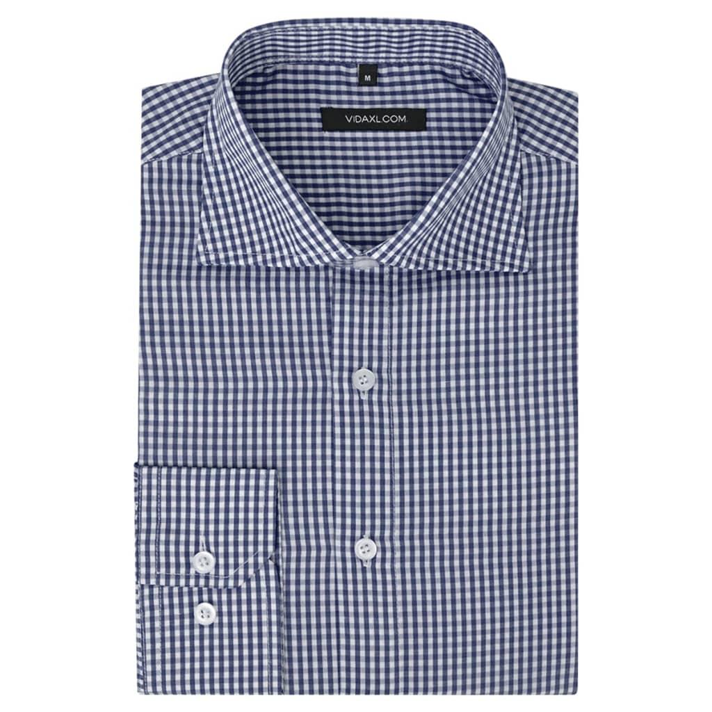99131609 Herren Business-Hemd weiß und marineblau kariert Gr. S