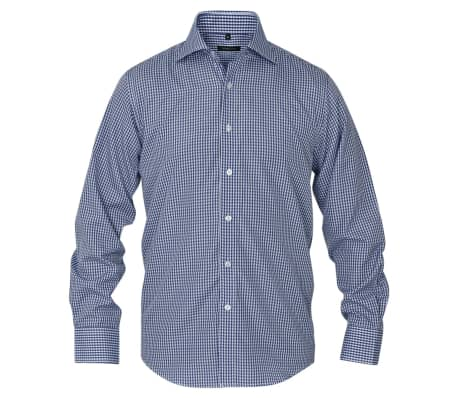 vidaXL Men's Business Shirt White and Navy Check Size S[2/4]