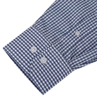 vidaXL Camicia Uomo Business Bianca e Blu Marino Taglia S[3/4]