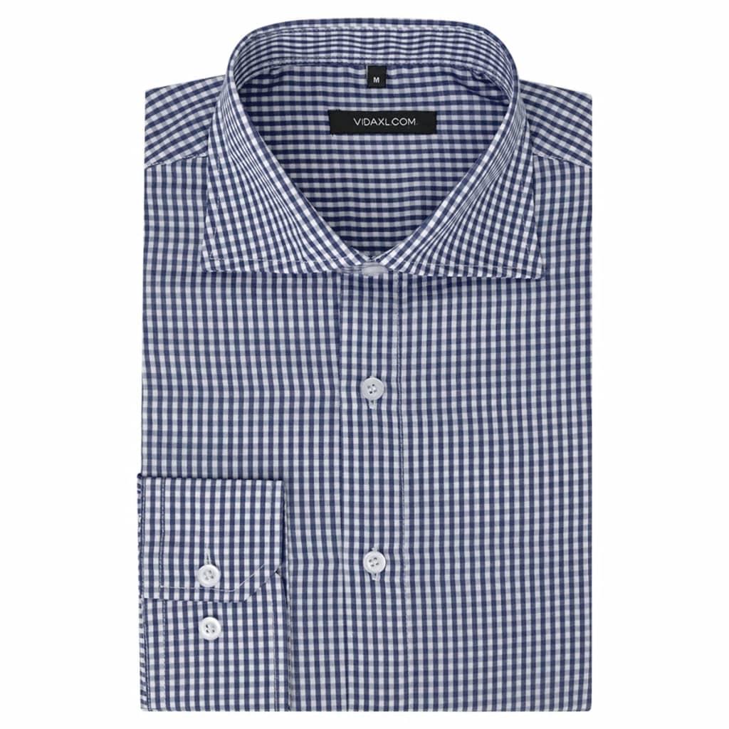 99131610 Herren Business-Hemd weiß und marineblau kariert Gr. M