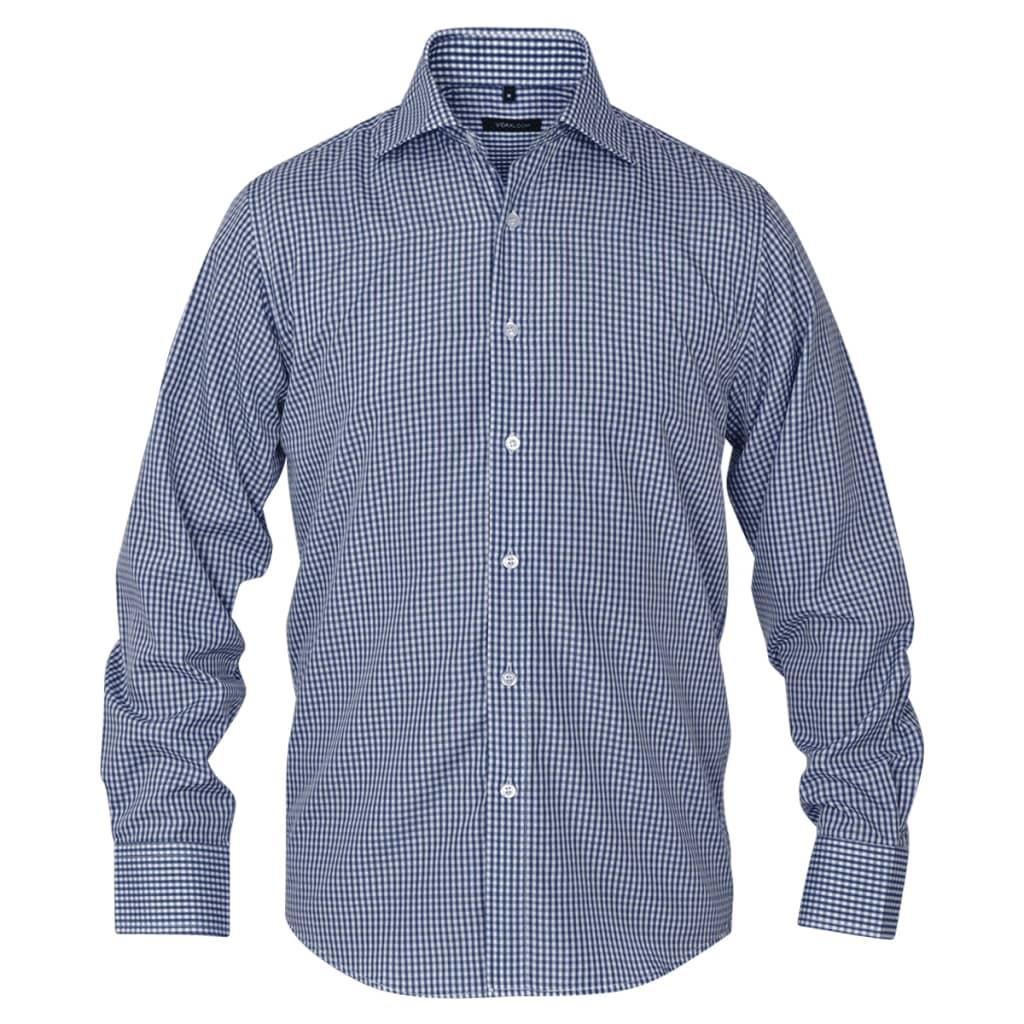 vidaXL Pánská business košile bílá/námořnická modrá kostka vel. M