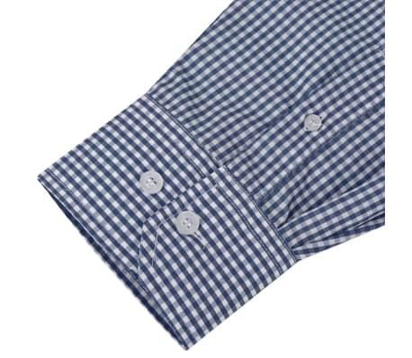 vidaXL Chemise pour hommes Blanc et bleu marine à carreaux Taille M[3/4]