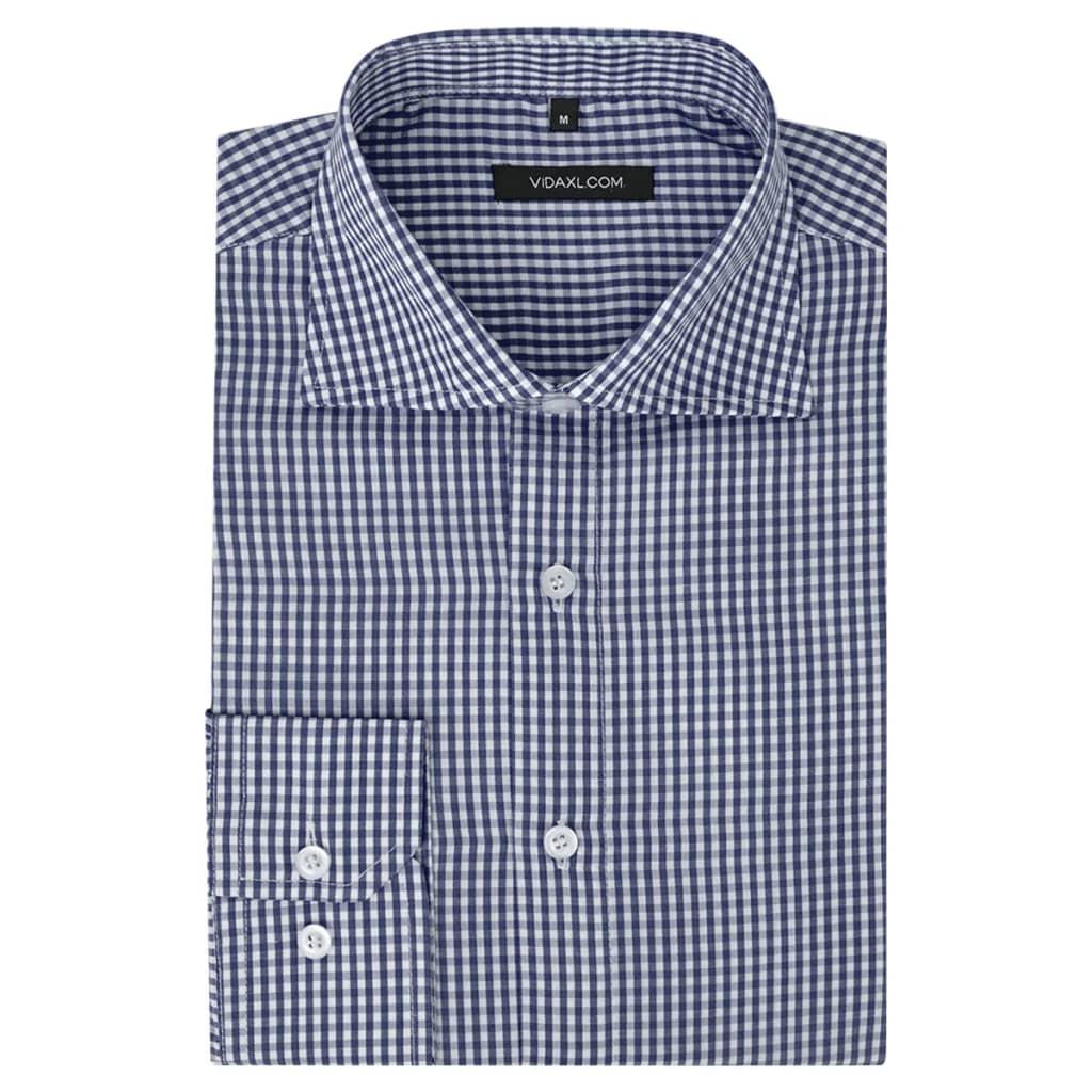 999131612 Herren Business-Hemd weiß und marineblau kariert Gr. XL