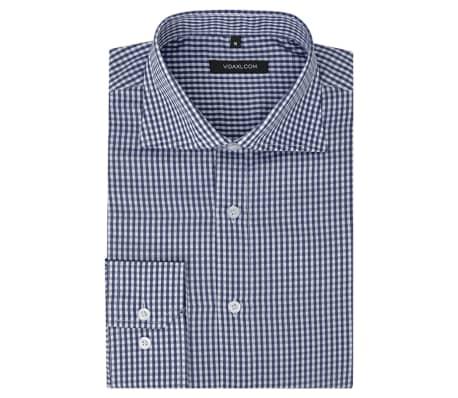 Overhemd Xl.Vidaxl Zakelijk Overhemd Heren Wit En Marineblauw Geblokt Maat Xl