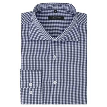 vidaXL Vyriški kostiumo marškiniai, dydis XL, balti/mėlyni langeliai[1/4]