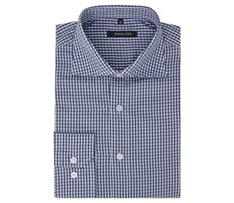 vidaXL Zakelijk overhemd heren wit en marineblauw geblokt maat XXL[1/4]