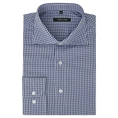 vidaXL Camisa de vestir de hombre a cuadros blanca y azul marino XXL[1/4]
