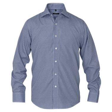 vidaXL Camisa de vestir de hombre a cuadros blanca y azul marino XXL[2/4]