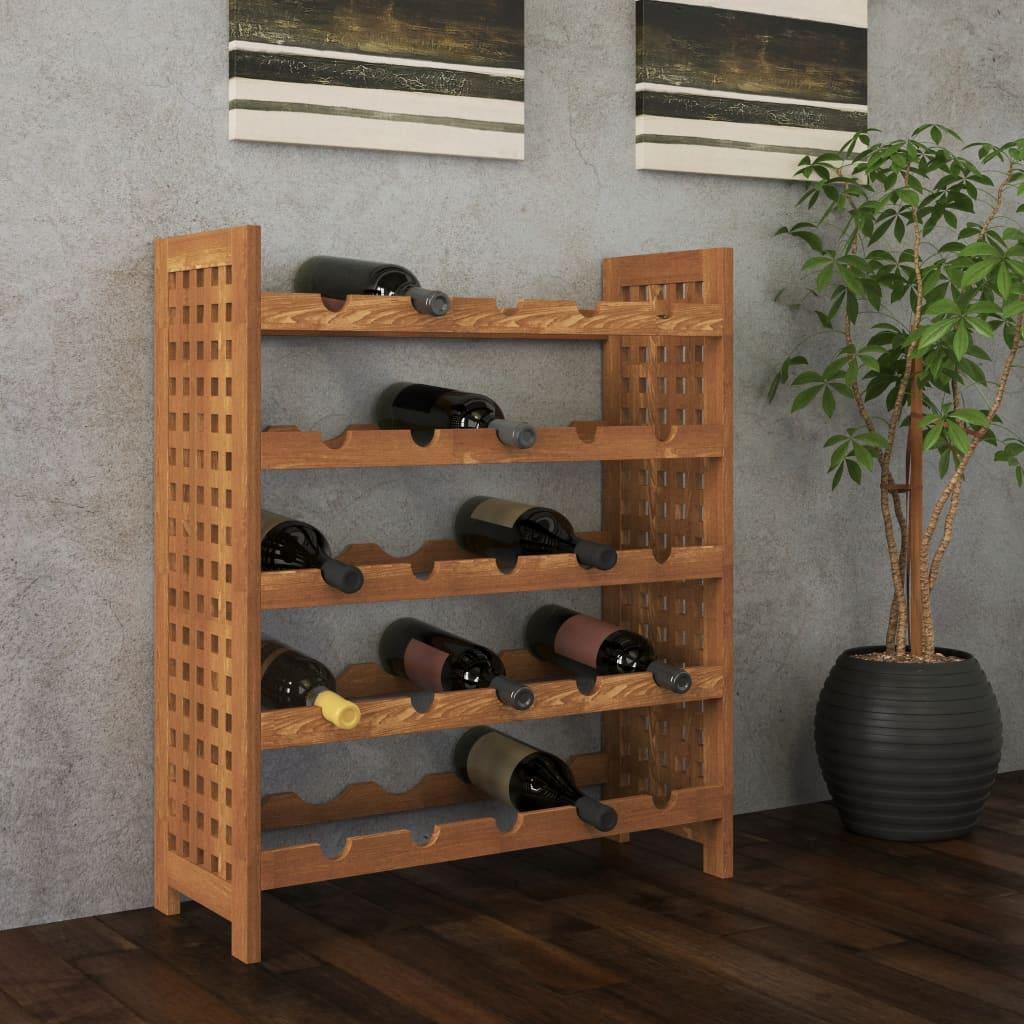 vidaXL Stojan na víno, masivní ořechové dřevo 64x25x76 cm
