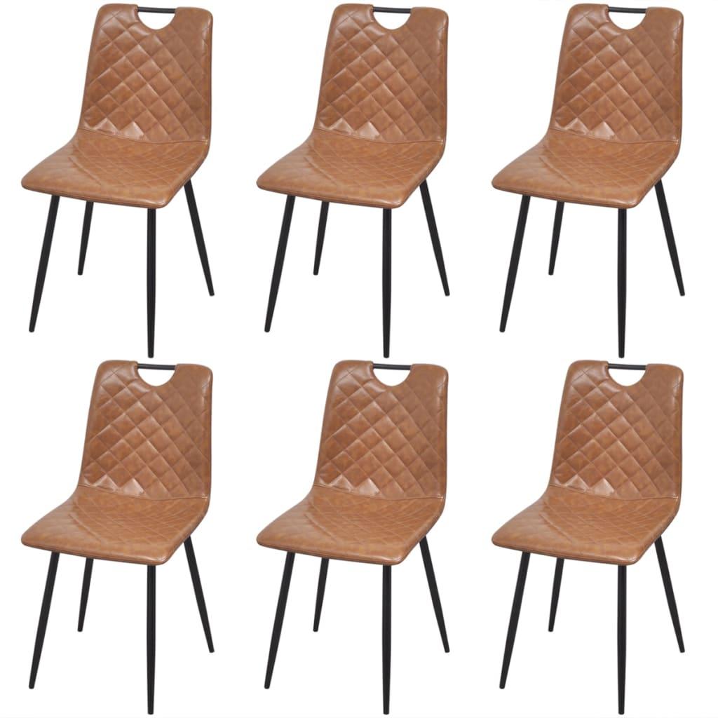 vidaXL Jídelní židle 6 ks z umělé kůže, světle hnědé